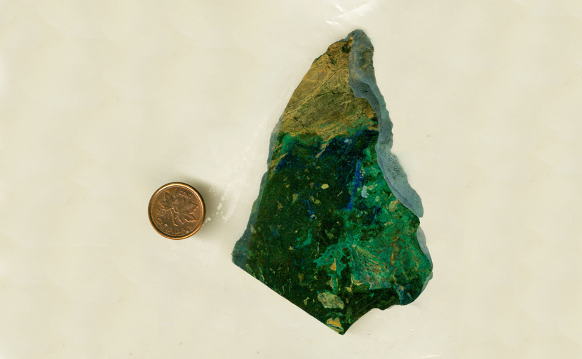 Blue, green and black Cuprodolomite slab.