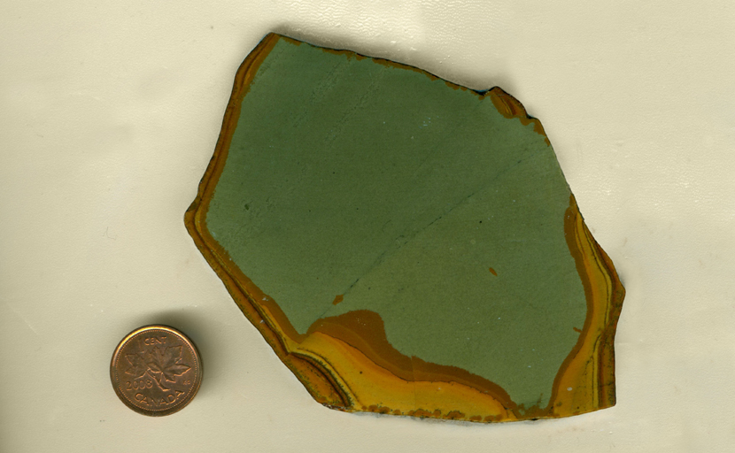 A bright, scenic jasper slab from Idaho, with green sky and golden ground.