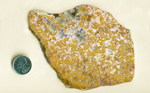 Slab of Calico Lace Agate from Mexico, with yellow moss patterns in a pink medium, which in turn is in a clear medium.