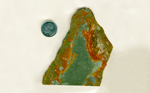 A slab of landscape Rocky Butte Jasper from Oregon, with greenish-blue, orangey-red and green bright layers.