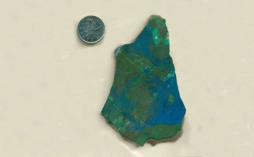 Bright green, blue and reddish-brown colors, patterned in large and small shapes - all in a slab of Burnite from Nevada.