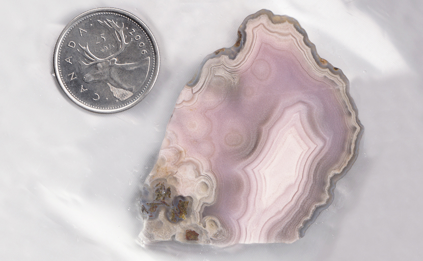 Pink Parcelas Agate with a central pale fortification and ghostly spheroids.