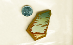 Slab of blue, green, red, yellow and brown Owyhee Picture Jasper, a complex desert scene.