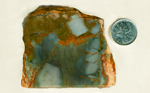 Blue, orange, green and yellow slab of Rocky Butte Jasper from Oregon.