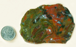 Swirling green, blue and red slab of Christmas Flame Agate from Mexico.