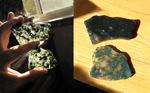 Floating green web inclusions in 2 clear slabs of Green Moss Agate from India.