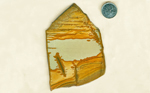 Blue, gold and reddish Owyhee Picture Jasper slab from Idaho.