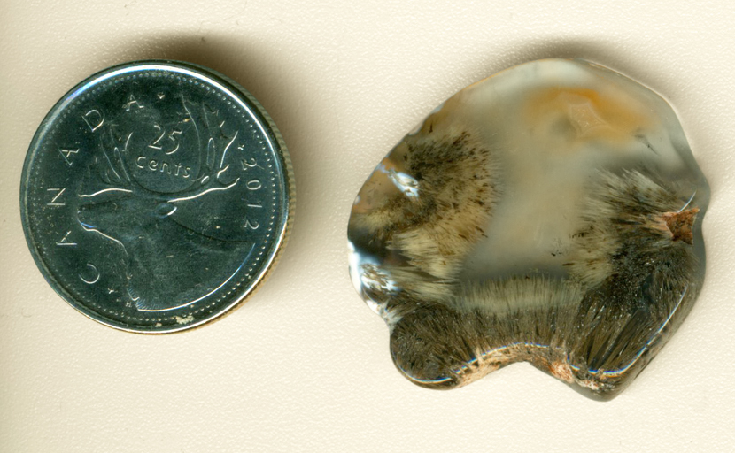 Clear Laguna Agate from Mexico with three fans of fine sagenitic needles and an orange fortification pattern.