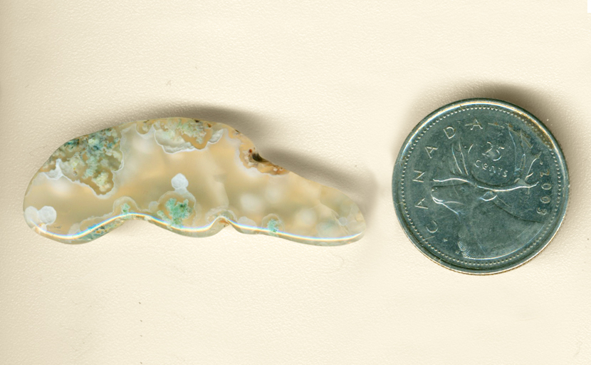 Blue-green moss inclusions in a clear, freeform Ochoco Moss Agate from Oregon.