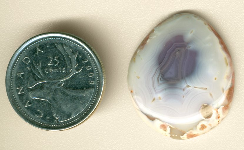 Violet spot in the middle of a white Fortification Agate from Mexico.