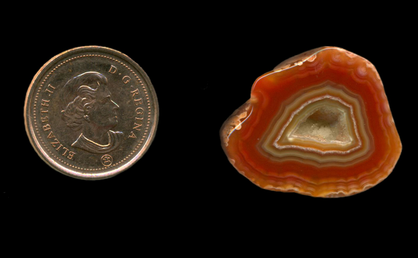 Freeform polished Fortification Agate from Mexico, with orange, yellow and green layers and a crimped white pattern at the outer edge, as well as a central pocket, or vug, of sparkling druzy quartz crystals.