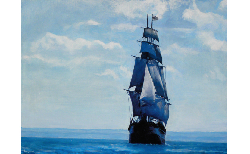 A painting of the tall ship, The Bounty, sailing out of the blue distance with full sail, done in the Dutch Method.
