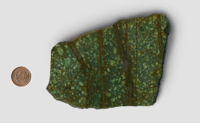 A slab of green Rice Copper Jasper from Mexico, spangled with lighter squares and patterned with rich brown lines, among which are shards of brighter green.