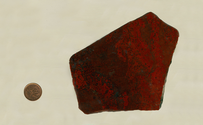 A slab of chalcedony, or flint, with bright red patches and spots overlaid on a dark dark red background.