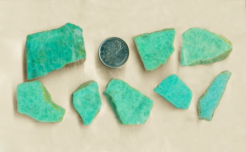 8 slabs of cool blue-green Amazonite from Amelia Courthouse, Virginia.