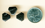 3 hexagonal polished gems of Psilomelane (Merlinite), patterned in flowing black and silver shades.