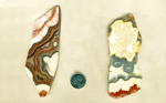 A set of 2 cactus Lace Agate slabs, full of high-contrast stripes of blue, white, red and yellow colors.
