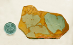 Three blue sections in an otherwise orange-yellow slab of Cripple Creek Picture Jasper from Oregon.