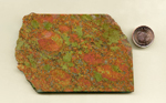 Unakite slab with strong contrasting orange and green mottling.