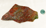 Deep red and green moss inclusions in a Laredo Moss Agate from Texas.